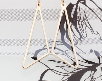 Gold or Rhodium Plated, Simple Triangle Link Charm, Earring
