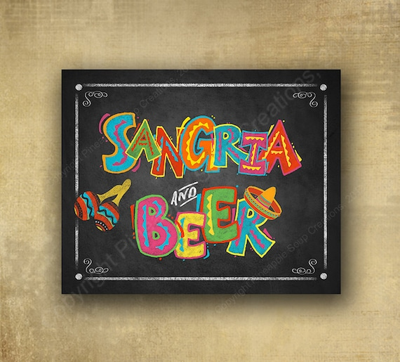 Printed Fiesta Party Sign - Sangria and Beer Chalkboard Fiesta Sign - Fiesta Bar Sign, Fiesta party signage, wedding sign, Fiesta Grad sign
