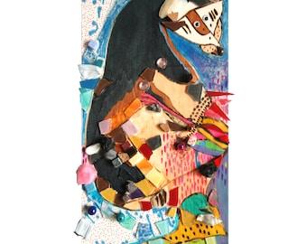 """Déco ours """"L'atelier de Mademoiselle Ourse"""", artisanat techniques mixtes, collage mosaïque d'art, tableau peinture, décoration pièce unique"""