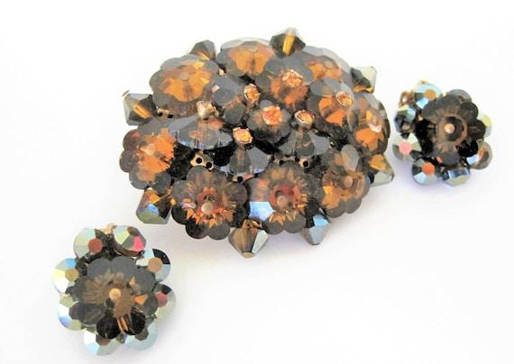 Margarita Rivoli Brooch Set, Amber Crystal Bead Highlights,  Floral Rivoli Cluster Pin