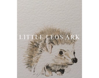 Baby animal/ baby hedgehog/ whimsical woodland nursery/ watercolour/ watercolor painting/ print/ wall art/ kids decor