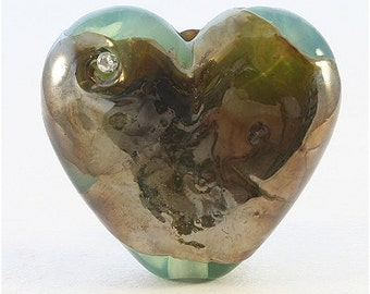 Handmade Lampwork Heart Focal Bead, Green, Bronze, Metallic - SRA, LE Team, DUST Team