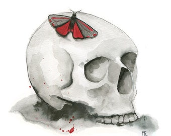 Pretty Poison 8x10 Art Print - skull with red poison Venomoth moth - Art by Marcia Furman