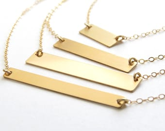 Custom Bar Necklace • Blank • Stamped • Engraved • Name Necklace • Long Layered Bar Necklace • Horizontal Bar • Personalized Gift For Her