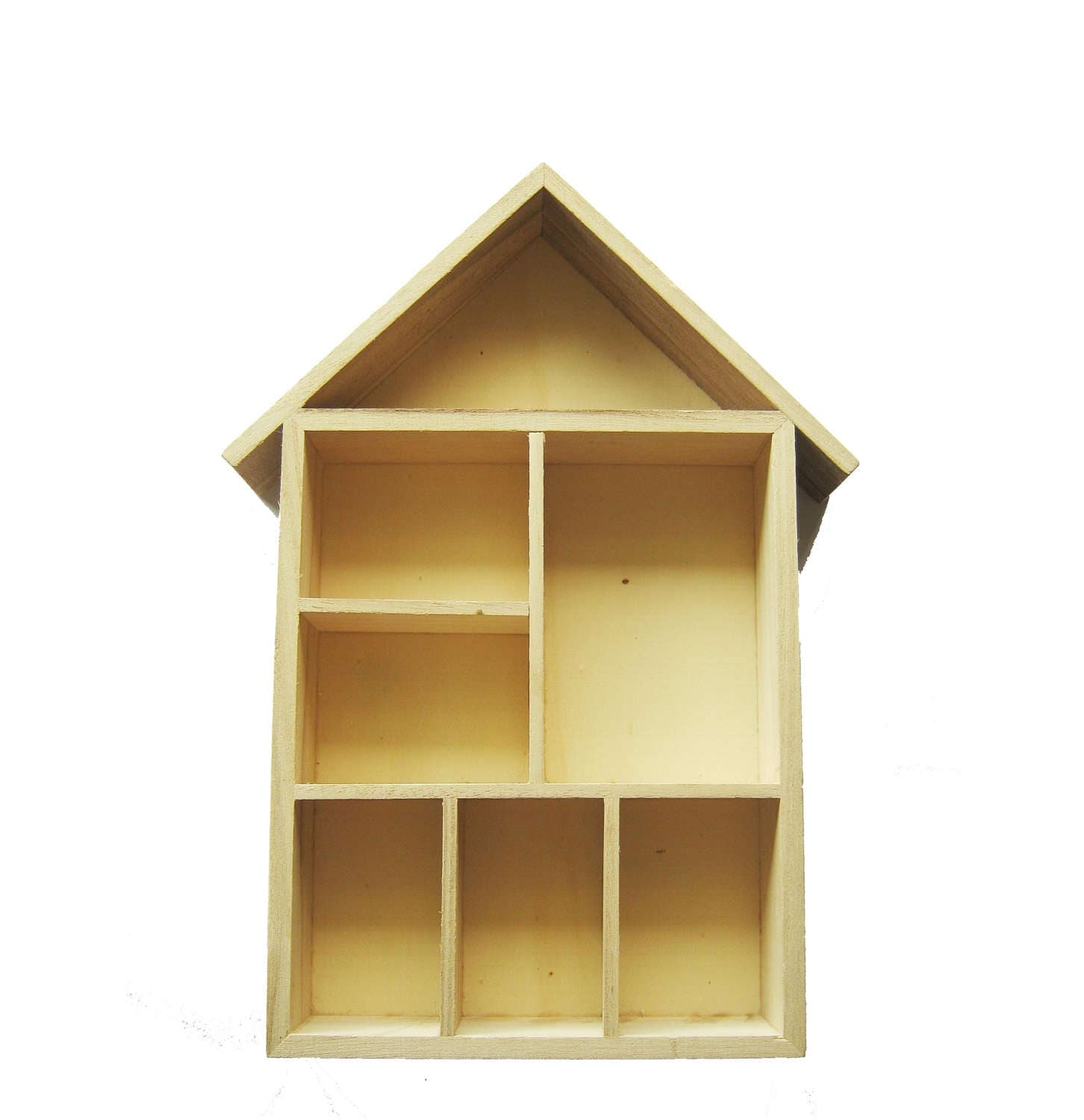 Blank Wooden House Shaped Shelving Box Ready to Decorate Mixed Media ...