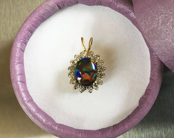 Black Opal and Diamond Pendant in 14k gold setting