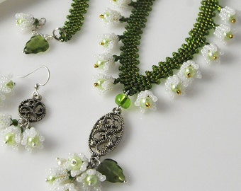 Lily of the Valley beadwoven jewelry set: necklace, earrings, bracelet