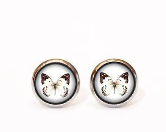 Black White Stud Earrings, Monochrome Butterfly Earrings, Minimal Earrings, Everyday Earrings, Simple Earrings, Gift for Her, Christmas Gift