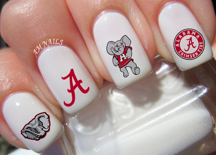 🔎zoom - Alabama Crimson Tide Nail Decals