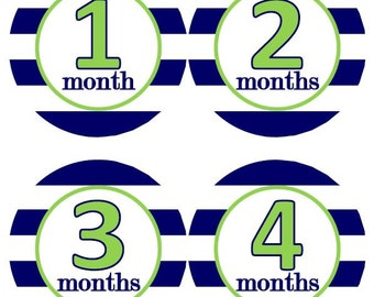 Baby Monthly Milestone Growth Stickers Wide Navy Rugby Preppy Stripes with Green MS126 Nursery Theme Baby Boy or Girl Shower Gift Baby