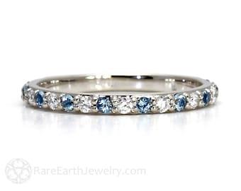 Aquamarine Ring Aquamarine Anniversary Band Diamonds Aqua Wedding Band Platinum Stackable Ring March Birthstone Ring Gemstone Ring