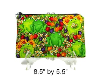 Frog Zipper Pouch, Green Pouch, Zip Bag, Cotton Pencil Case, Purse Pouch, Cosmetic Bag, Makeup Zip Bag, Accessory Pouch, Padded Pouch