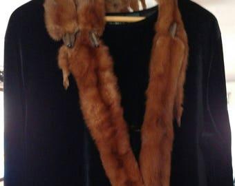 Vintage Molasses-Brown Mink Pelt Fur Scarf