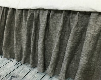 Chambray grey bed skirt, Gathered Bed Skirt, Available in Twin, Full, Queen, King, Calif. King, 13-24 drop or custom length