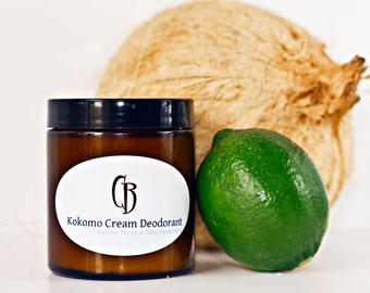 Kokomo Cream Natural Deodorant - Handmade Creamy, Dreamy Tropical Organic- 5.25 oz With Recipe