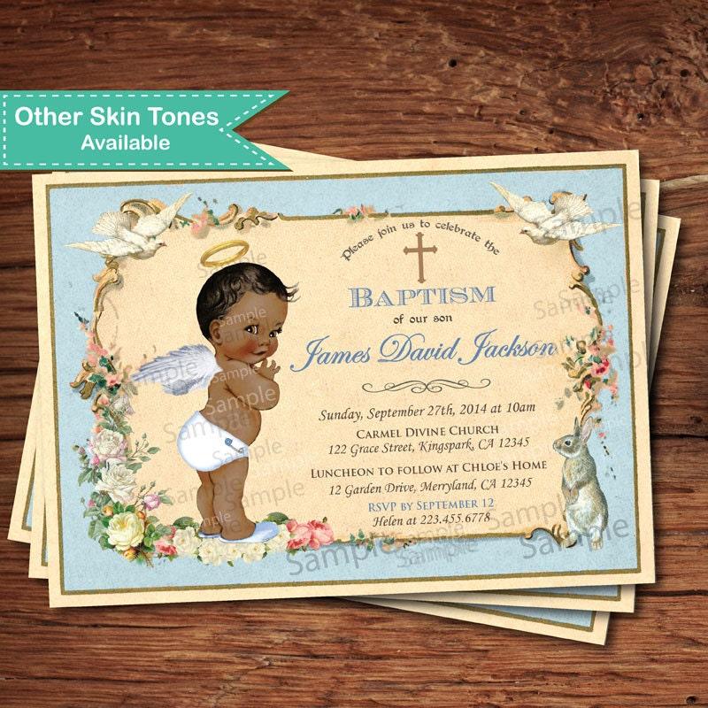Baby boy baptism invitation. Shabby boho chic. Vintage blue