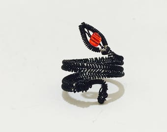 Black snake ring adjustable with red glass bead