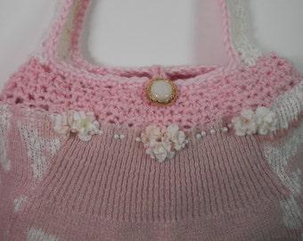 10 x 13 Sweater Purse Knick & Crocket Mauve Pink White Wedding Bride Dollar Money Gift Card Bag Feminine Upcycle Re Styled Repurpose Handbag