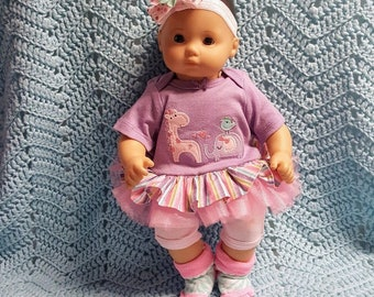 "Baby Doll Clothes ""Zoo Friends"" (15 inch) doll outfit fits Bitty Baby® Twins® Cabbage Patch® dress pants socks headband giraffe elephant"