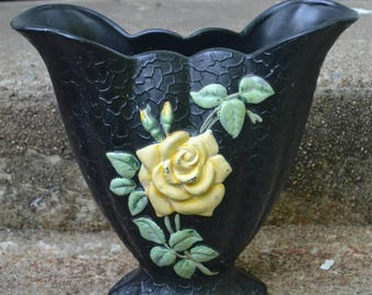 Vintage Brentleigh Ware Textured Vase Black with Yellow Rose