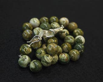 Rainforest Jasper with silver Clasp