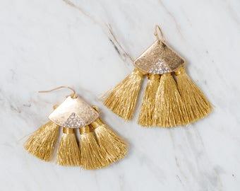 Gold tassel earrings, Gold geometric earrings, Gold earrings, Fan Tassel earring, Dangle earrings, Tassel stud earrings, Statement earrings