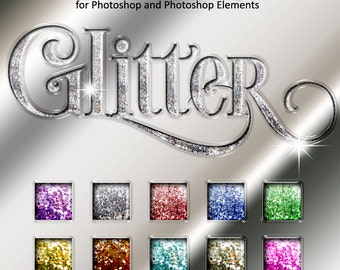 Photoshop Layer Styles - Designer Gems - GLITTER - 1 Photoshop Style file (.ASL) containing 10 unique Styles to add to your Text.