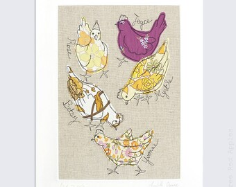 Me & my Girls - Personalised Chickens Mounted Embroidery Picture - yellow, orange and purple - 14x11