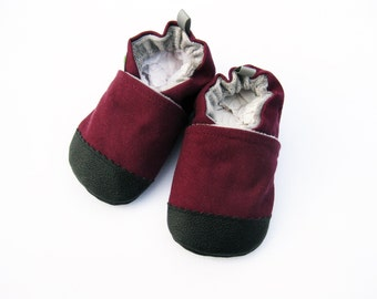 Organic Vegan Heavy Canvas Plum / non-slip soft sole baby shoes / Made to Order / babies toddlers preschool