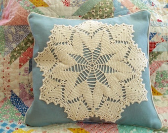 Shabby Chic Vintage Lace Doily on Blue Canvas Hand Made Pillow Crochet Doily Pillow