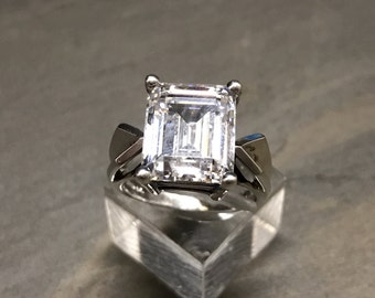 Size 6, Sterling silver statement ring, engagement ring, 925 silver with emerald cut CZ, modernist, minimalist, simple style, stamped 925 CZ