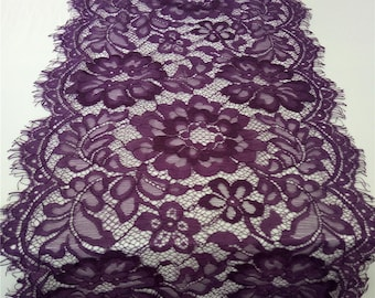"Purple  Lace Table runner, 10"" , purple table runners,  wedding  table runners, lace table runner,   R15121301"