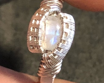 Moonstone Ring - Sterling & Fine Silver - Size 6.5
