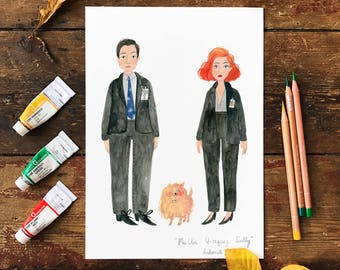 The Truth is Out There (Mulder and Scully and Queequeg) A4 Print Poster