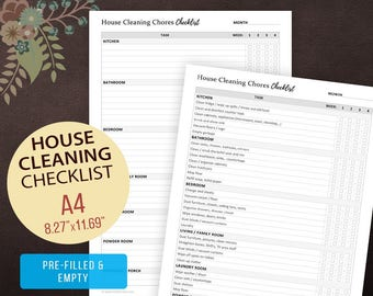 House Cleaning Chores Checklist, Weekly Cleaning Checklist, Chore Chart, House Cleaning, House Keeping, Cleaning List A4