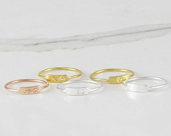 Tiny Personalized Bar Rings, Custom Initial Bar Ring, Dainty Roman numeral Bar ring, Name Bar Ring, Band ring (HCR OD 9X3 R)