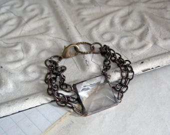 Stained Glass Bracelet, Faceted Clear Glass Jewelry, Nickel Free Brass Chain