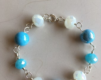 Handmade silver wire wrapped bracelet