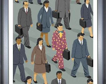Commute: signed limited edition, colouful, conceptual,  illustration print