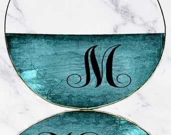 M Monogram Earrings, Hoop, Dangle or Drop, Maritime Theme, Deep Sea Blue, Large Silver Hoops, Custom Initial, Letter Jewelry Gift