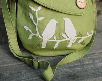 Bird Purse, Tote, Handbag, Handmade Wood Button,3 Large Pockets, one large zipper pocket