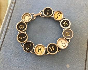 BOOKWORM TYPEWRITER Key BRACELET Recycled Jewelry Made From Typewriter Keys