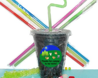 Camping Party Cups, Baby Animals Party Cups, Kids Birthday Party Cups, 20 Cups, Sleepover Kids Party Cups, Straws and Lids, 12 Ounce Cups