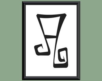 Typography DIGITAL PRINT Monogram Initial Wall Art Farewell Eternity Letter A 5x7