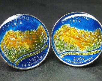 USA Quarter coin cufflinks  Colorado state   quarter 24mm