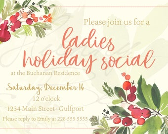 Watercolor Christmas Holiday Invitation Invite ·· Holly