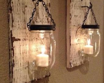 Hanging mason jar lanterns set