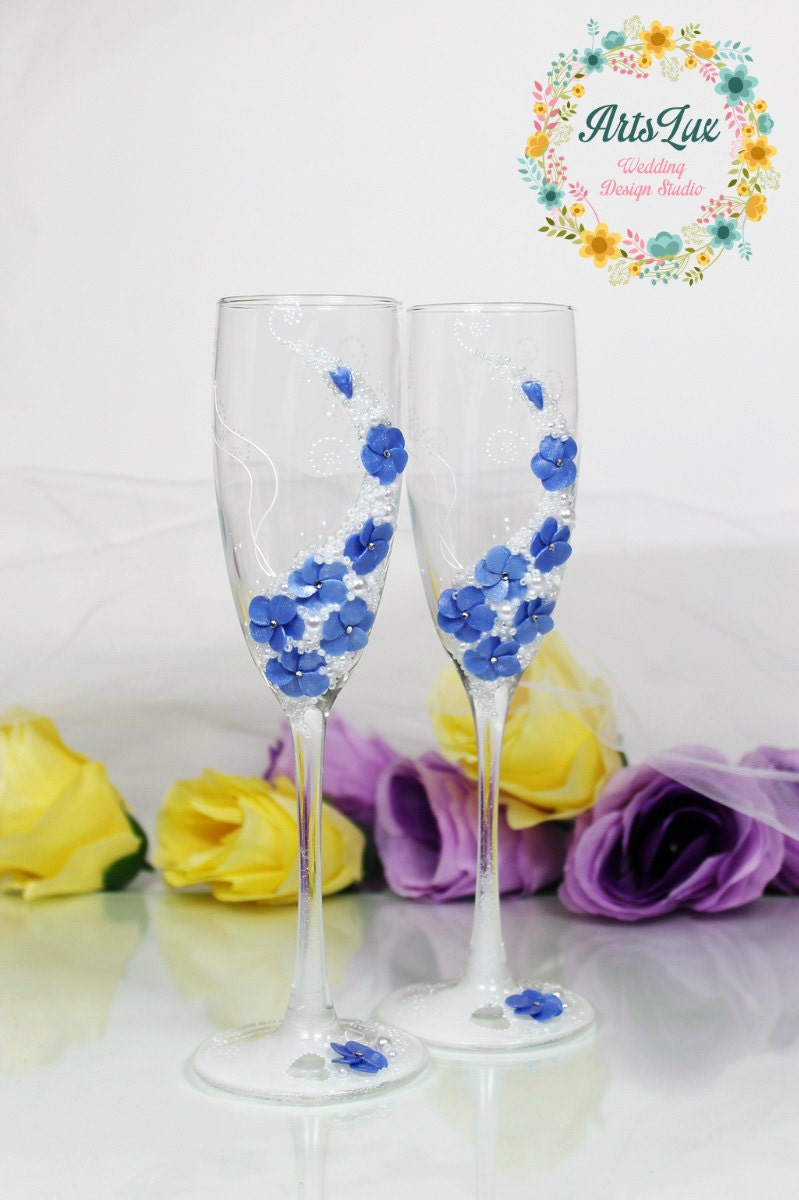 Blue Wedding Champagne Glasses Wedding Toasting Flutes With # Champagne Muebles Uy