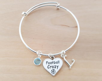 Football Crazy - Silver Adjustable Bangle  -  Personalized Initial Bracelet - Swarovski Crystal Birthstone Jewelry - Gift For Her