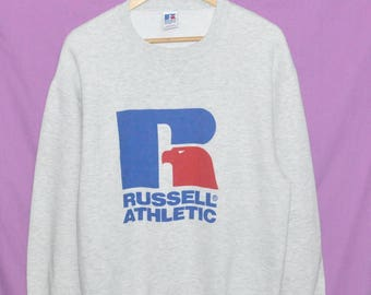 Vintage 90s Russell Athletic Big Logo Grey Sweatshirt Sweater large Size Made in USA